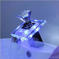 Wholesale Glass Led Tap - Diamond crystal faucet handle LED bathroom basin sink faucet mixer taps glass waterfall S-007B