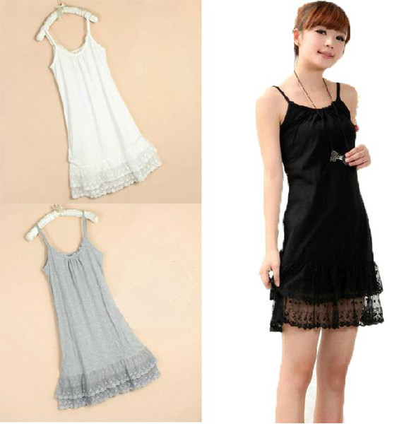 top popular Autumn and winter lady's cotton double layer lace tanks women spaghetti strap tops 2021