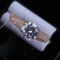 Wholesale Austrian Crystals Rings - R036 Elegant Crystal Ring 18K rose Gold Plated Made with Genuine Austrian Crystals Full Sizes Wholesale