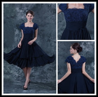 Wholesale Simple Square Open Back - Vintage Navy Blue Square Lace Cap Sleeve Chiffon Short Mother of The Bride Dresses Tea Length Ruffles Formal Wedding Party Gowns Open Back