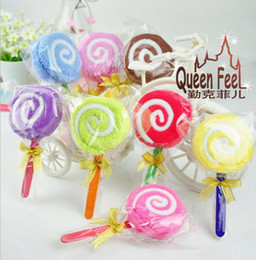 Wholesale Candy Towel Favors - 2016 New Lollipops candy cake towel 100% cotton towel Wedding birthday Christmas gift wedding favors baby shower favors gifts