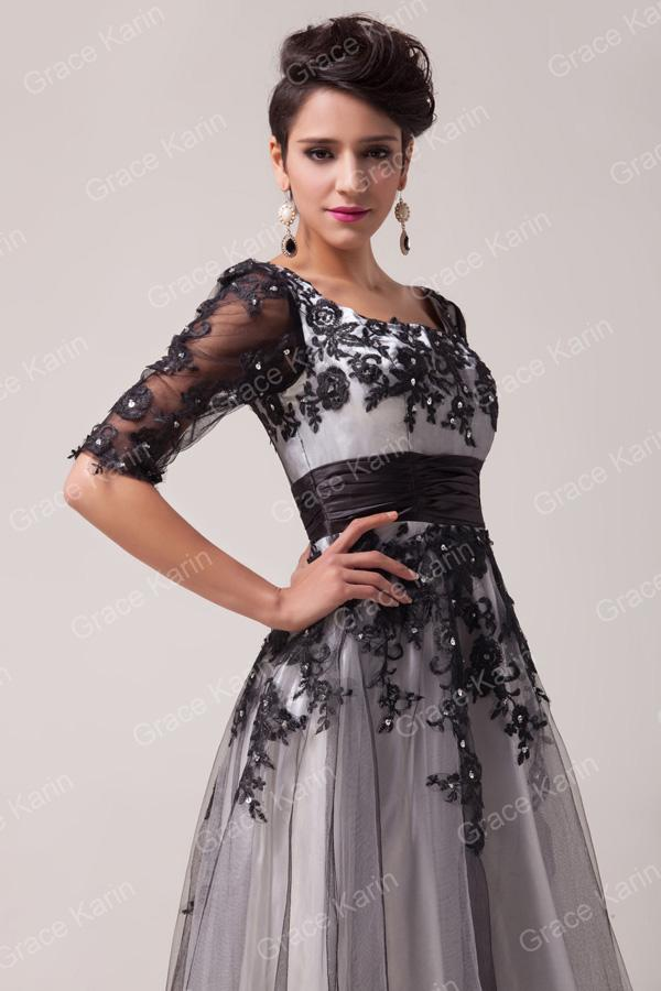New Arrival Tea Length 1/2 Long Sleeve Lace Prom Dresses Fairytale  Appliques Tulle Formal Evening Party Gown CL6051 Stores With Prom Dresses  Super ...