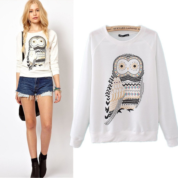 2013 New Autumn Casual Cute White Owl Animal Print Beading Hoodies Pullover for Women Free Shipping