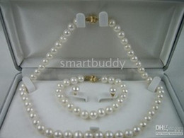 Wholesale White South Sea Pearl Earrings - AAA8-9MM South Sea White Pearl Necklace Bracelet Earrings SET