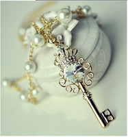 Wholesale Crown Key Pearl Necklace - 2014 new punk crown key necklace zircon crystal pearl long sweater chain !