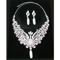 Wholesale Peacock Design Jewelry - Unique Design Bright Color Peacock Crystal Necklace Earrings Bridal Jewelry Set Wedding Gift for Lovers CN133