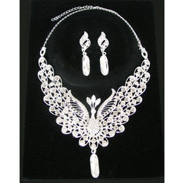 Wholesale Peacock Lovers - Unique Design Bright Color Peacock Crystal Necklace Earrings Bridal Jewelry Set Wedding Gift for Lovers CN133