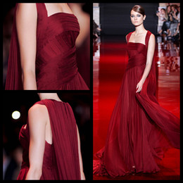 Wholesale Sexy Elegant Fitted Dresses - Elegant Burgundy Elie Saab Couture 2016 Fitting Bodice Square Neck Flowing Long Chiffon Evening Dresses