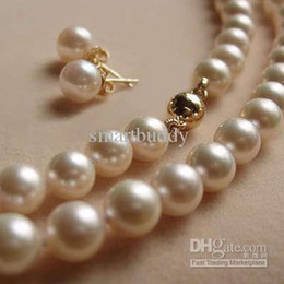 Wholesale Real Gold Earrings 14k - Real fine Natural 18inches 8-9MM AAA+ Akoya White Pearls Necklace with Earring set 14k