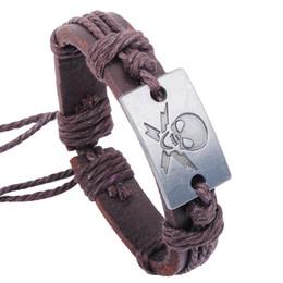 Wholesale Leather Wristband Skull - Wholesale Pirate Skull Crackle Genuine Leather Punk Adjustable Belt Cuff Bracelet Bangle Wristband cool!!!