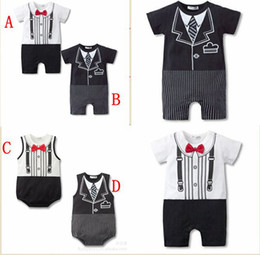 Wholesale Discount Winter Clothes - Big Discount New gentleman Bow tie baby rompers black white 2colour boys jumpsuits 0-2year infant clothes Baby One-Piece & Romper 12pcs lot