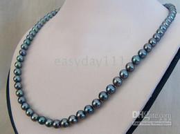 """Wholesale Tahitian Mm Black Pearl - 18"""" 8-10 MM TAHITIAN NATURAL BLACK PEARLS NECKLACE 20"""" 14K"""