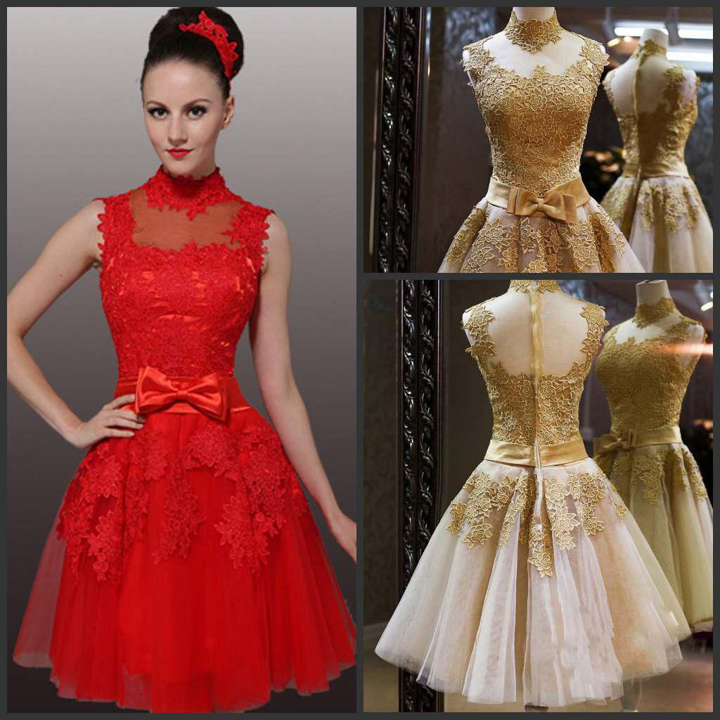 New Wedding Dresses High Neck Red Gold Tulle Venice Lace Pleat ...