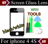 Wholesale Glass Lens Tool Iphone - CHpost high quality Brand New Front Screen glass lens Replacement For iphone 4 4S + tools JP6