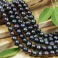 Wholesale Black Loose Freshwater Pearls - 7-8mm Black Freshwater Pearl Loose Beads 15''
