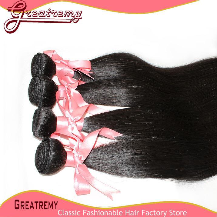 Greatremy 20 inch Braziliaanse maagd haar bundels natuurlijke kleur zijdeachtige rechte menselijke haar weeft inslag 3 stks / partij Dyable Drop Shipping