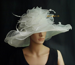 Wholesale Ivory Big Organza Hat Church hat,Bridal Hat fascinatwith feathers for wedding,party,kentucky derby.brim width 15.5cm.