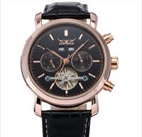ingrosso oro jaragar-2019 nuovo JARAGAR marca multifunzione oro orologio meccanico cinturino in pelle orologio da polso uomini spedizione gratuita