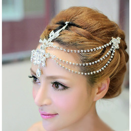 Wholesale Diamonds Bridal Headpieces - 2015 New Design Rhinestone Wedding Bridal Crown Frontlet Shiny Crystal Jewelry Headpieces Wedding Party Costume Jewelry Accessories CN135