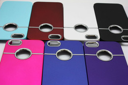 Wholesale Metal Ring Hole Back Cover - Deluxe Hard Plastic PC Back Case Cover with Chrome Metal Ring Hole Rear For iphone 4 4S 5 5G 5S iPhone4 iPhone5 Cases Mix Colors Models