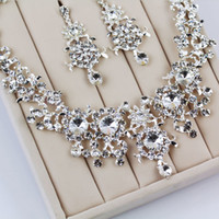 Wholesale Costume Jewlery Necklace Sets - Shiny Crystal Rhinestone Necklace Earrings Bridal Jewlery Set Wedding Party Costume Decorations Charm Necklace Bridal Accessories CN121