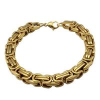 ingrosso braclets per gli uomini-Braccialetti in oro 18 carati braccialetti per uomo Collana in acciaio inossidabile 8,5 pollici Collana 5 colori per scegliere BR-19