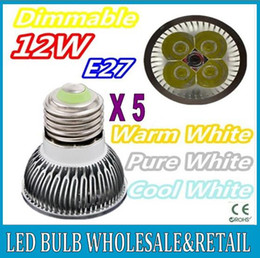 Wholesale Warm Cool Pure White Led - 5X High power CREE E27 4x3W 12W 85-265V Dimmable Light lamp Bulb LED Downlight Led Bulb Warm Pure Cool White free shipping