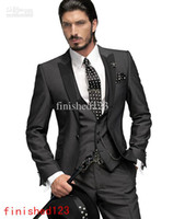 Wholesale Charcoal Grey Wool Suit - High Quality Charcoal Grey Groom Tuxedos One Button Peak Lapel Groomsmen Men Wedding Suits Bridegroom (Jacket+Pants+Tie+Vest) H888
