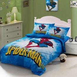 Wholesale Spiderman Queen Comforter - Spiderman comforter bedding set twin full queen cartoon for kids comforters duvet cover quilt bed linen sheet bedspread 7 design