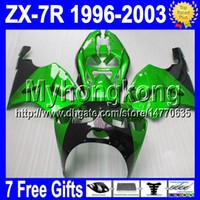 Wholesale Zx7r 1997 - 7gift For gloss green KAWASAKI NINJA 96-03 ZX7R 96 97 98 99 00 01 02 03 MY1271 ZX 7R ZX-7R 1996 1997 1998 2003 green black Fairing bodywork