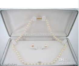 Fine Pearl Jewelry 8-9mm Akoya White Pearls Necklace Earrings 14K clasp