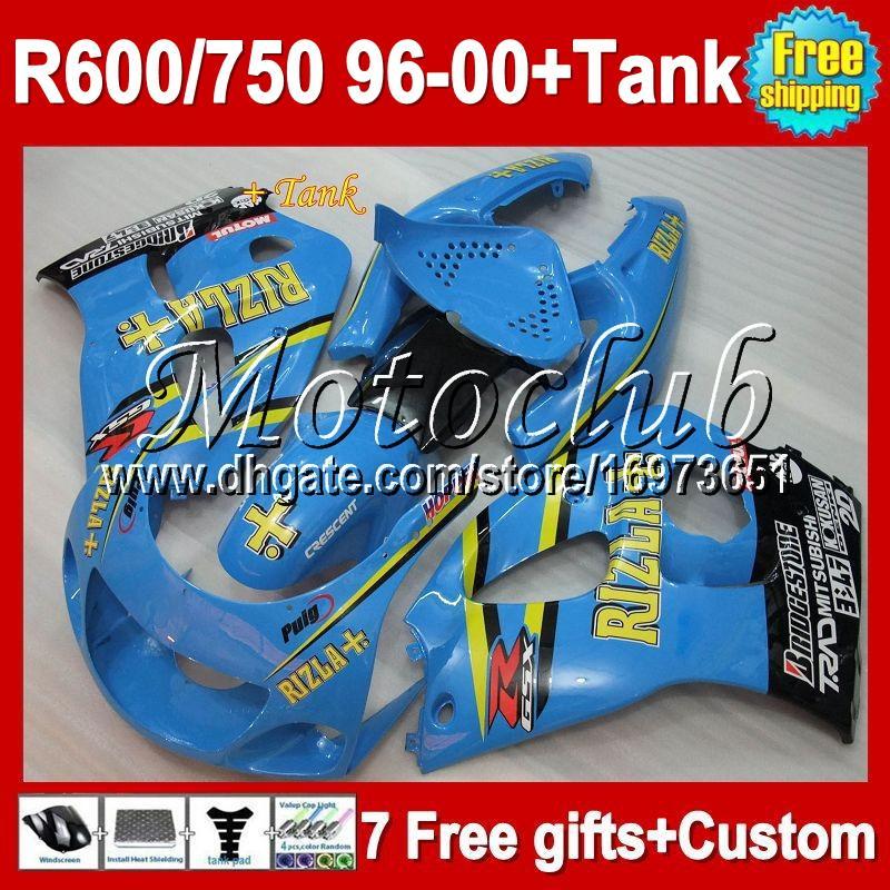 7gifts of SUZUKI GSXR750 RIZLA +Tank 96 97 98 99 00 GSX R600 R750 MC3A23 Cyan GSXR 600 750 GSXR600 96 1996 1997 1998 1999 2000 Fairing