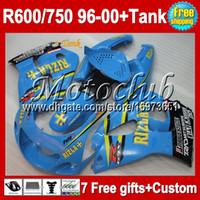 tanques suzuki al por mayor-7 gifts de SUZUKI GSXR750 RIZLA + Tanque 96 97 98 99 00 GSX R600 R750 MC3A23 Cyan GSXR 600 750 GSXR600 96 1996 1997 1998 1999 2000 Carenado