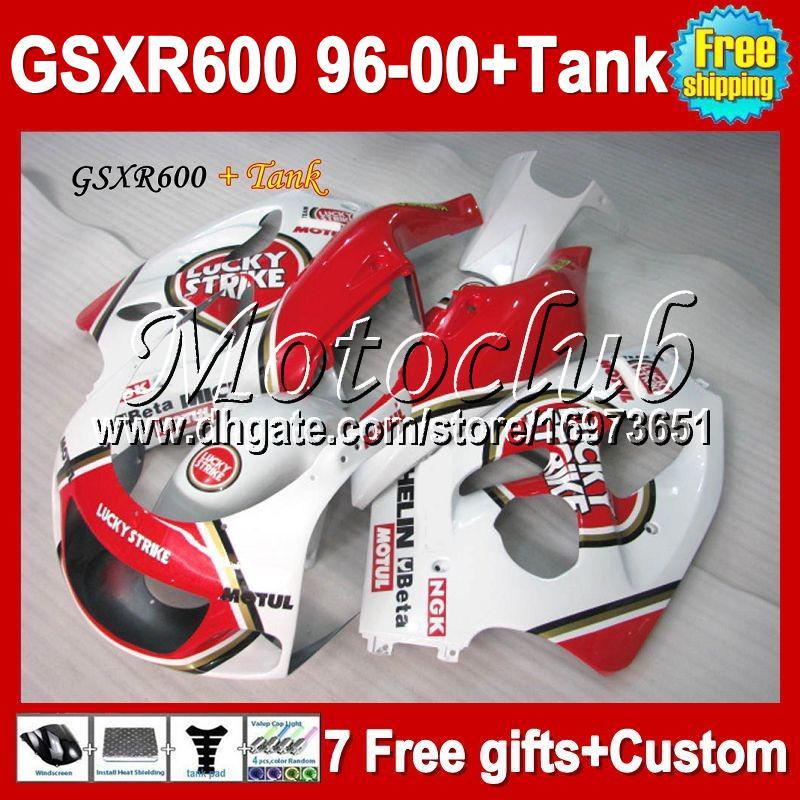 7gifts para SUZUKI GSX-R600 + tanque Lucky Strike 96 97 98 99 00 GSX R600 personalizado MC1A24 GSXR 600 GSXR600 1996 1997 1998 1999 2000 Carenado