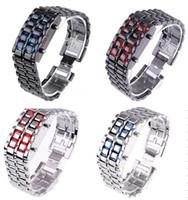 Wholesale Iron Lava Style - Wholesale 250pcs lot Mix 4colors NEW Metal Lava Style LED Iron Samurai Watch Men Women styles fashion classic watches LL004