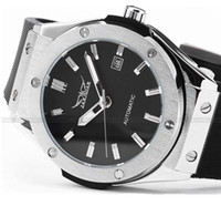 Wholesale Silicon Watch Brand - JARAGAR Brands Silver Stainless Steel Case Analog Automatic Mechanical Silicon Sports Mens Watches With Date