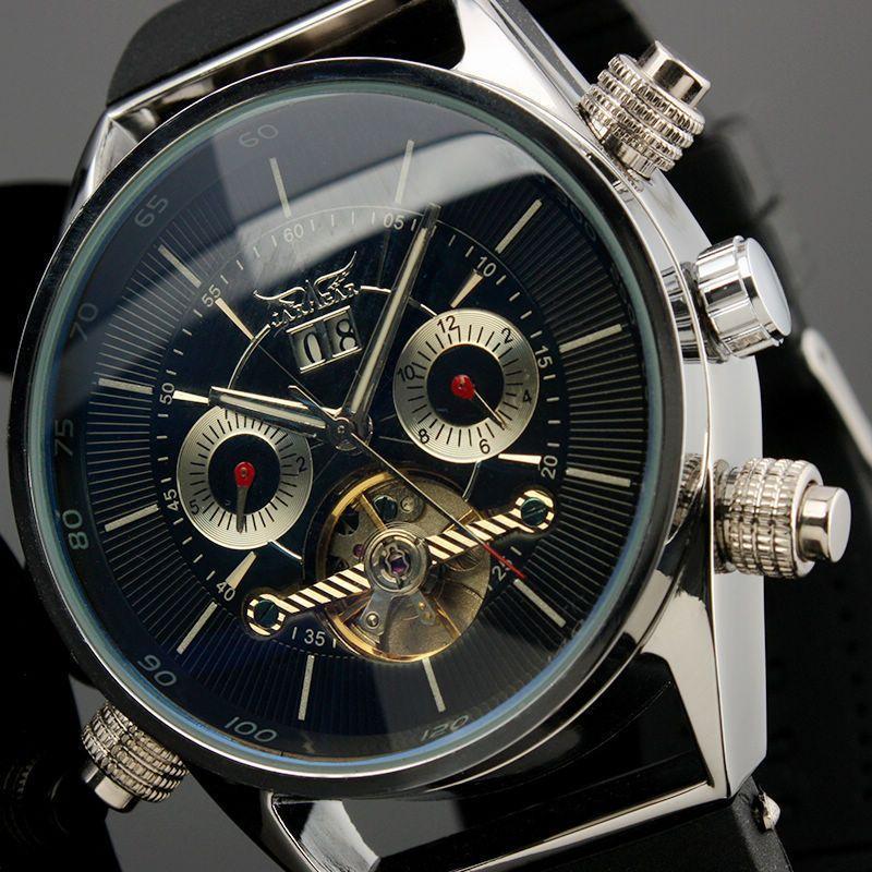Jaragar Mens Watches Top Brand Luxury Automatic Fashion Sport Watch Shark Lines Design Rubber Band Tourbillion Display Calendar