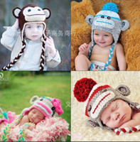 Wholesale Handmade Owl Monkey Crocheted Baby - Fashion baby girl boy handmade woolen yarn caps hats knitting animal cartoon owl and monkey winter cap crochet hat Photography props