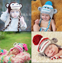 Wholesale Crochet Knit Animal Prop - Fashion baby girl boy handmade woolen yarn caps hats knitting animal cartoon owl and monkey winter cap crochet hat Photography props