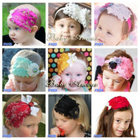 Wholesale Hairclip Feathers - Peacock Feather Hairband Bow Hairclip Lovely Ovely Unusal Cotton Girls Baby Headband 37 Pattens U pick