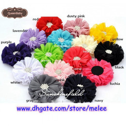 Wholesale Chiffon Ballerina Flowers - 2016 Promotion Newest 2.5'' Ballerina Chiffon Flower with Starburst Button 15 COLOR Choose Children's Hair Accessories 40PCS lot Melee