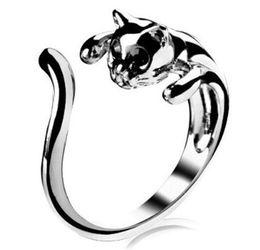 Wholesale Cat Eye Rings Wholesale - Adjustable Cat Ring Animal Fashion Ring With Rhinestone Eyes djustable and Resizeable
