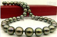 black peacock pearls - TAHITIAN quot MM BLACK PEACOCK GREEN PEARL NECKLACE K