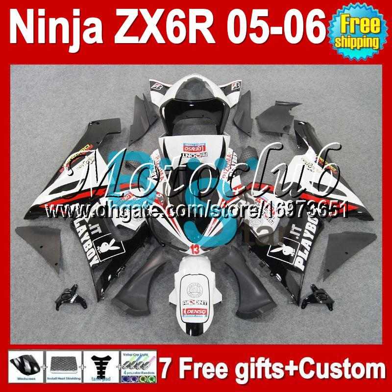 7gifts+100%NEW red blk For KAWASAKI NINJA ZX6R ZX 6R 636 05-06 #930 ZX636 PLAYBOY black red ZX-6R 05 06 2005 2006 Free Customized Fairing