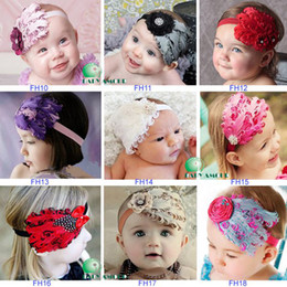 Fleurs De Plumes De Diamant Pas Cher-Retail Infant Baby Girl Diamond Feather Headband Enfant Dance Party Flower Hair Band Head Décoration Ornements de Noël Cadeaux Headwear Enfants