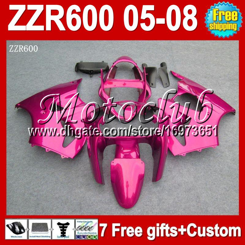 NEW ALL Rose 7gifts Custom HOT For ZZR 600 KAWASAKI 05 06 07 08 NINJA ZZR-600 MC1339 - 2005 2006 2007 2008 ZZR600 6R Gloss Pink Fairings