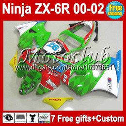 Red White Kawasaki Canada - 7gifts Free Custom HOT For KAWASAKI NINJA ZX-6R 00 01 02 ZX636 NEW Green white red ZX-636 ZX6R MC713 ZX 6R 636 2000 2001 2002 NEW Fairing