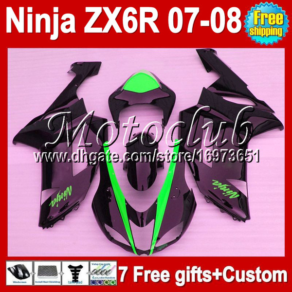 Personalizado gratis! Body + 7gifts Para KAWASAKI NINJA NUEVO Negro 07-08 ZX6R ZX-6R 10MC126 ZX 6R ZX636 ZX-636 07 08 2007 2008 HOT Black Green Fairing