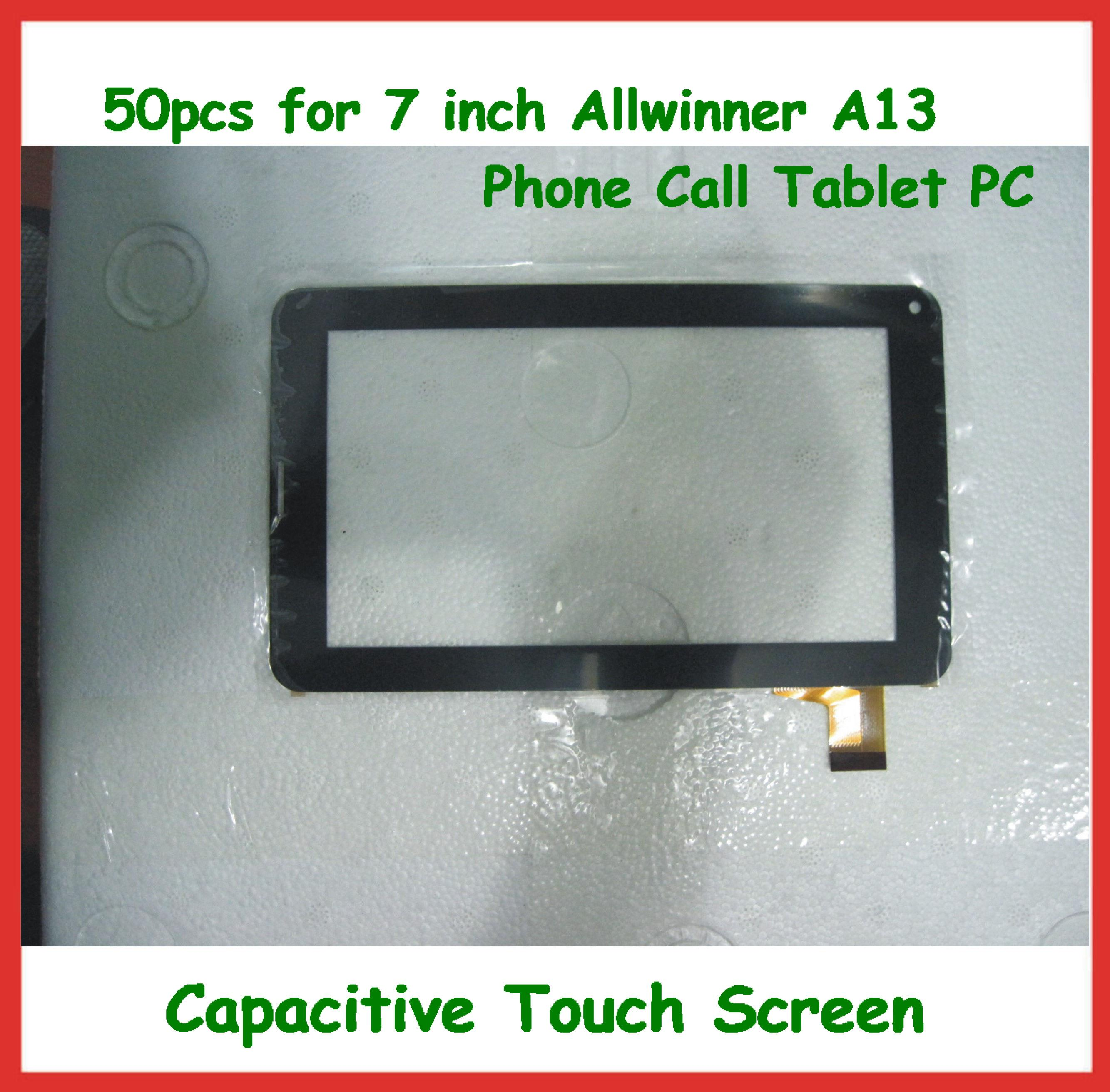 50pcs 7 inch Replacement Capacitive Touch Screen with Glass Digitizer for 7  inch 86V Allwinner A13 Phone Call Tablet PC DHL Free Shipping