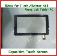 pc de la tableta de la pulgada del envío libre de dhl al por mayor-50 unids Pantalla táctil capacitiva de reemplazo de 7 pulgadas con digitalizador de vidrio para 7 pulgadas 86V Allwinner A13 Llamada telefónica Tablet PC Envío libre de DHL